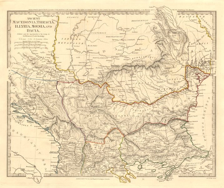 Associate Product BALKANS ANCIENT. Macedonia, Thracia, Illyria, Moesia and Dacia. SDUK 1845 map