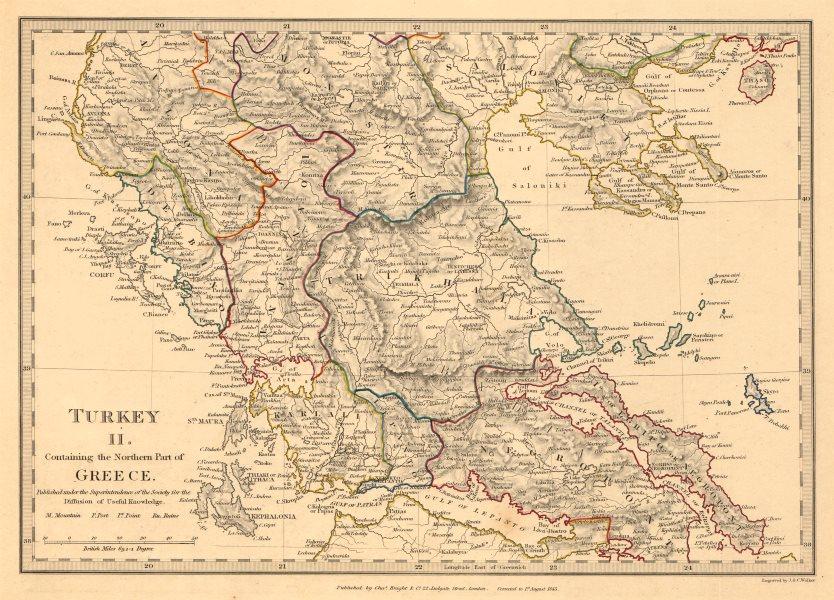 GREECE. Corfu Ionian Euboea Kephalonia Saloniki Lepanto Ioannina. SDUK 1845 map