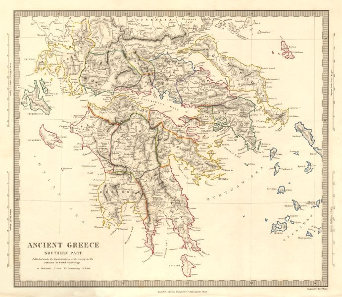 Ancient Greece Map Outline.Ancient Greece South Peloponnese Attica Athens Cyclades Sduk 1845