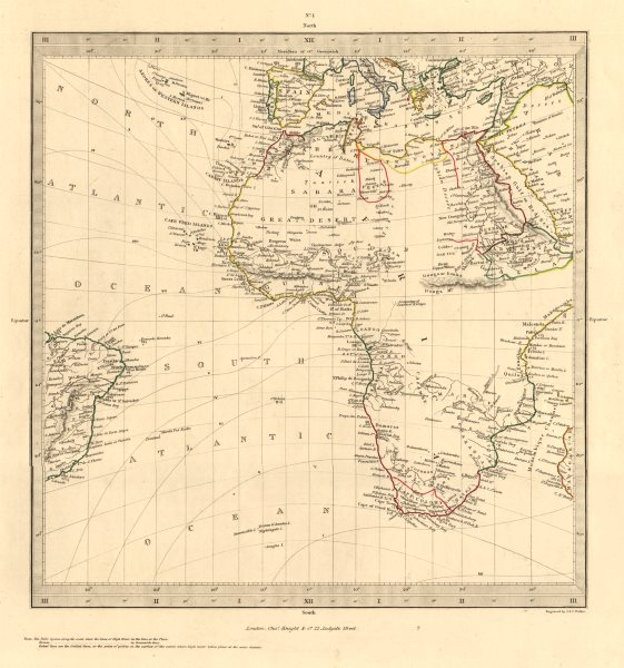 Associate Product AFRICA South Europe Brazil Gnomonic Projection. Mountains of Kong. SDUK 1846 map