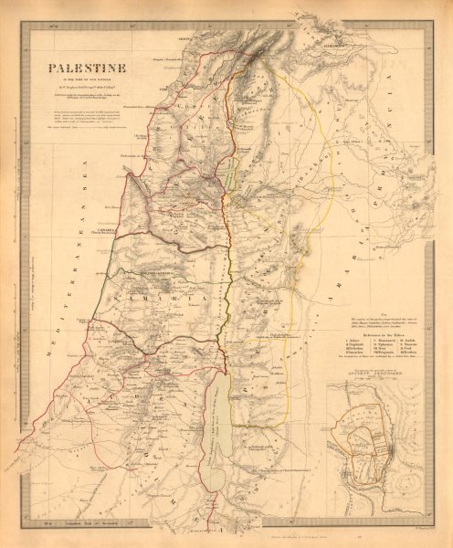Associate Product PALESTINE in the time of Our Saviour. Ancient Jerusalem. Israel. SDUK 1846 map