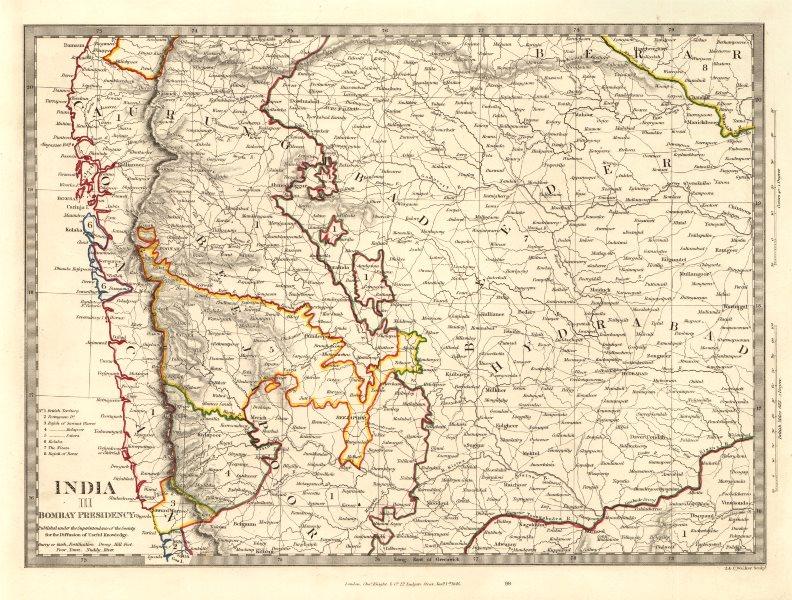 Associate Product INDIA III BOMBAY PRESIDENCY & HYDERABAD. Aurangabad Bijapur Mumbai SDUK 1846 map