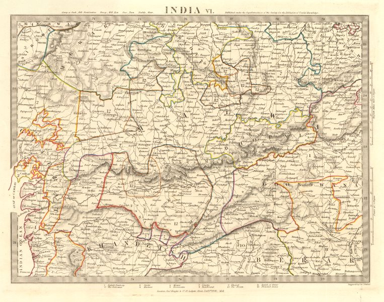 Associate Product INDIA VI. Bundelkhand-Khandeish Berar. Gujerat. Goondwana Bhopal. SDUK 1846 map