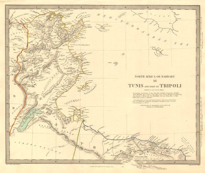 Associate Product NORTH AFRICA OR BARBARY III. Tunis & Part of Tripoli Tunisia Libya SDUK 1846 map