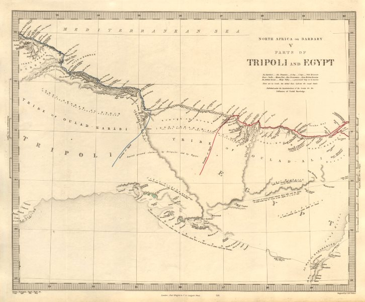 Associate Product NORTH AFRICA OF BABRBARY V Parts of Tripoli & Egypt. Libya Tribes. SDUK 1846 map
