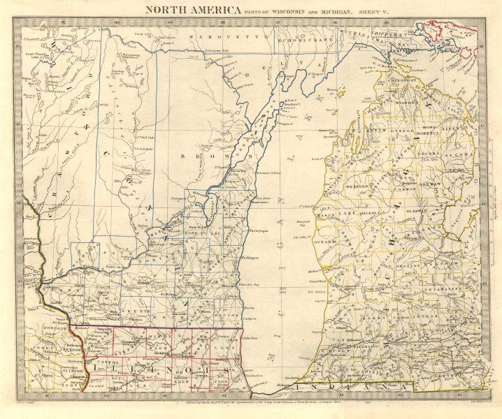Associate Product LAKE MICHIGAN. Wisconsin. Michigan excludes Upper Peninsula. SDUK 1846 old map