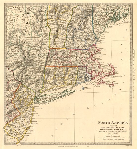 Associate Product USA. New York Maine Massachusetts Connecticut New Jersey NH RI VT. SDUK 1846 map