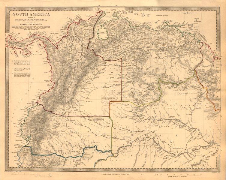 "Associate Product AMAZONIA. Showing ""El Dorado?"", missions & tribes. Brazil Ecuador. SDUK 1846 map"
