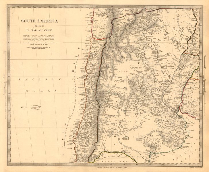 Associate Product SOUTH AMERICA. La Plata & Chilé. Chile Argentina Uruguay Bolivia. SDUK 1846 map