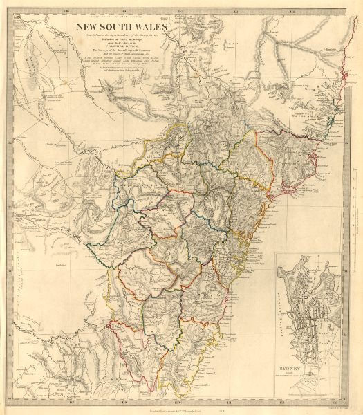 title of map new south wales inset sydney from the new south wales almanack