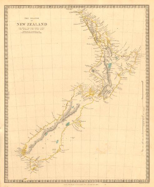 Associate Product The Islands of NEW ZEALAND. Tavai Poenammoo Eaheinomauwe. SDUK 1846 old map