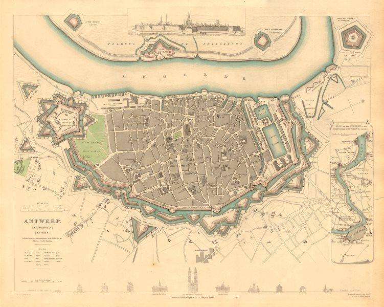 Associate Product ANTWERP ANTWERPEN ANVERS. Town city map. Schelde forts Lillo. SDUK 1847