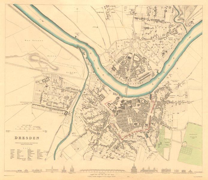 Associate Product DRESDEN. Antique town city map plan. Key buildings profiles. SDUK 1847 old