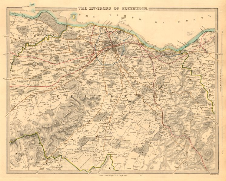 Associate Product EDINBURGH & ENVIRONS. Leith Linlithgow Peebles Haddington. SDUK 1847 old map