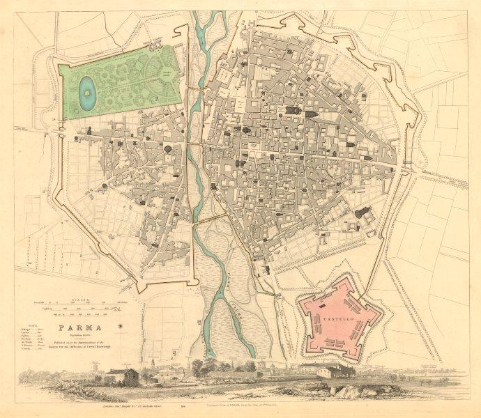 Associate Product PARMA. Antique town city map plan & panorama. Parme. SDUK 1847 old