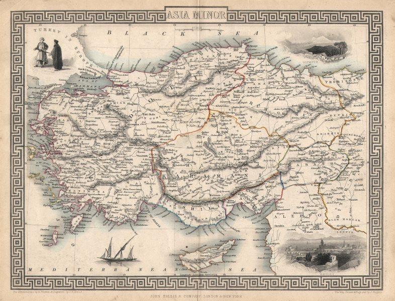 Associate Product ASIA MINOR'. Turkey Cyprus Dodecanese. Rhodes view. TALLIS/RAPKIN c1851 map