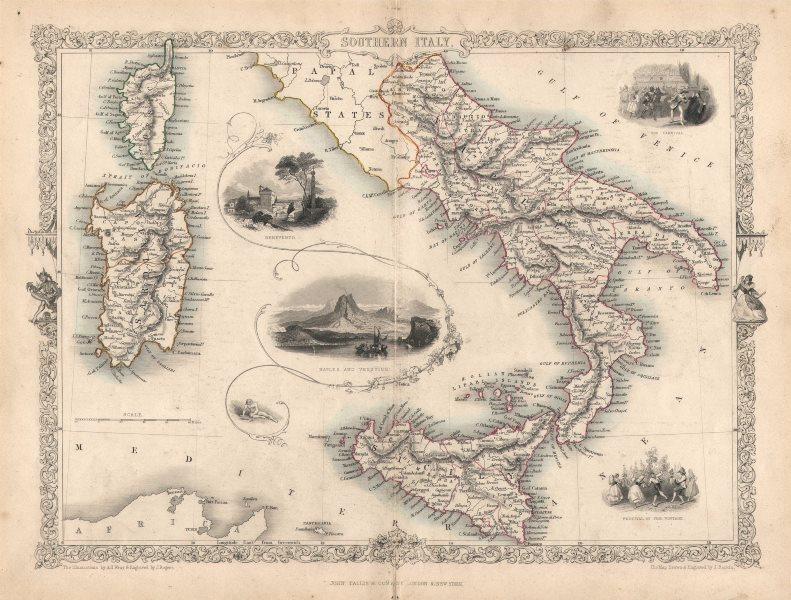 Associate Product SOUTHERN ITALY. Naples Vesuvius Sicily Sardinia Corsica.TALLIS/RAPKIN c1851 map