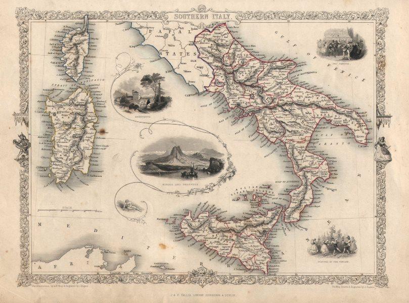 Associate Product SOUTHERN ITALY. Naples/Vesuvius Sicily Sardinia Corsica.TALLIS/RAPKIN c1851 map