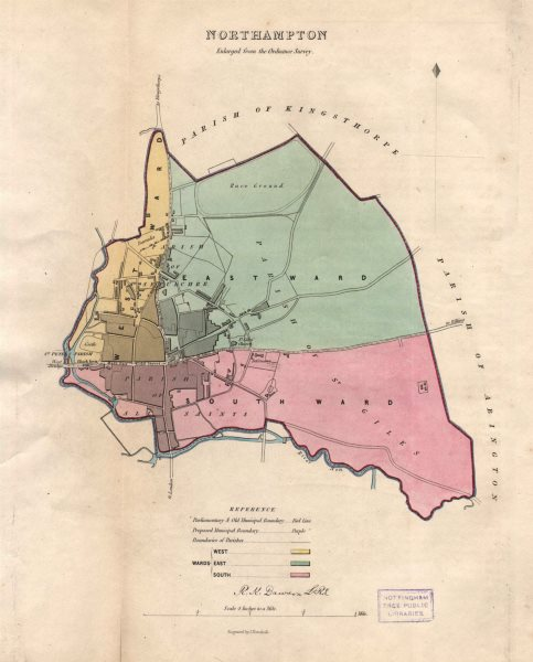 Associate Product NORTHAMPTON borough/town plan & Wards. BOUNDARY REVIEW. DAWSON 1837 old map