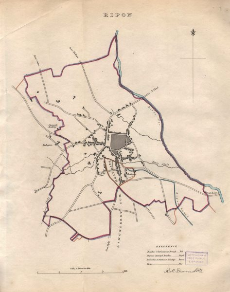 Associate Product RIPON borough/town plan. BOUNDARY REVIEW. Yorkshire. DAWSON 1837 old map