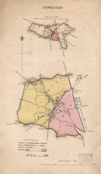 Associate Product OSWESTRY borough/town plan. Wards. BOUNDARY REVIEW. Shropshire. DAWSON 1837 map