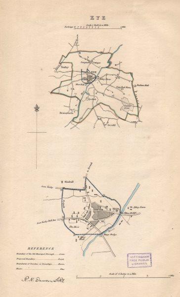 Associate Product EYE borough/town plan. BOUNDARY REVIEW. Yaxley Occold. Suffolk. DAWSON 1837 map