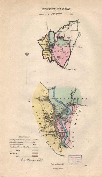 Associate Product KIRKBY KENDAL borough/town/wards plan. BOUNDARY REVIEW. Cumbria. DAWSON 1837 map