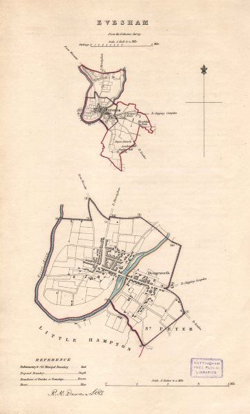 EVESHAM borough/town plan. BOUNDARY REVIEW. Worcestershire. DAWSON 1837 map