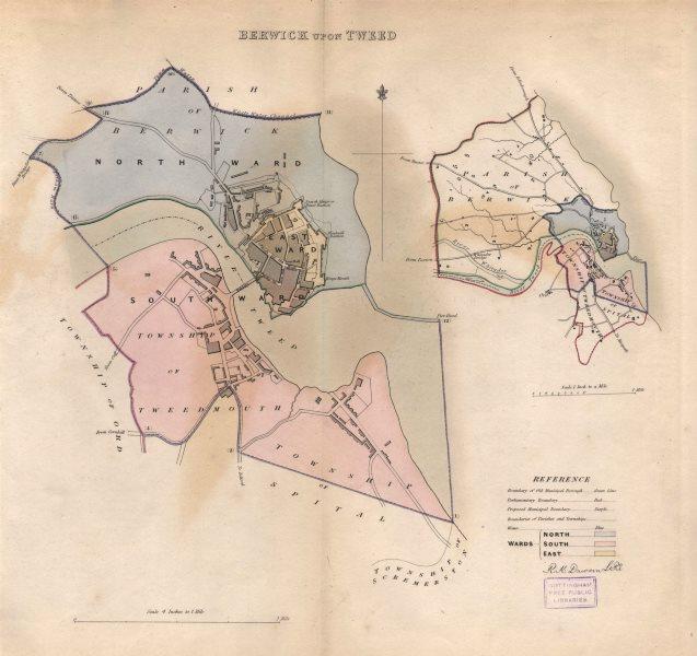 Associate Product BERWICK UPON TWEED borough/town plan BOUNDARY REVIEW. Northumbs. DAWSON 1837 map