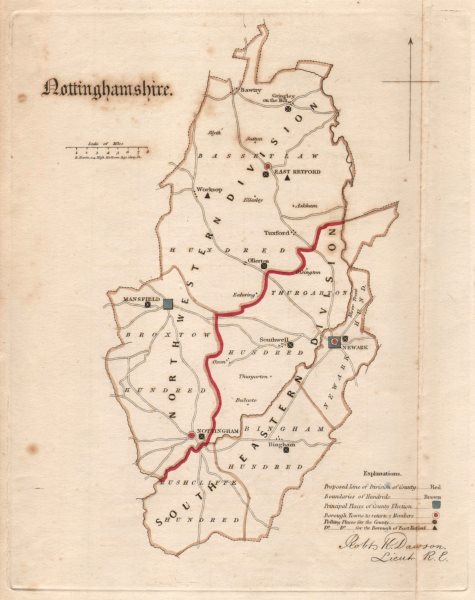 Associate Product Nottinghamshire county map. Divisions electoral boroughs REFORM ACT. DAWSON 1832