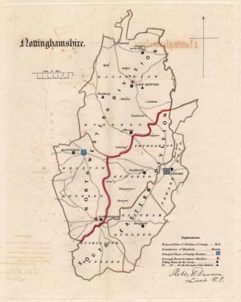 Associate Product Nottinghamshire county map. Electoral divisions boroughs REFORM ACT. DAWSON 1832