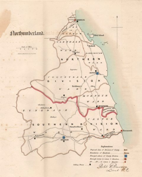 Associate Product Northumberland county map. Divisions electoral boroughs. REFORM ACT. DAWSON 1832
