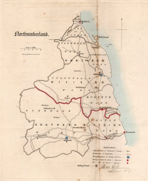 Associate Product Northumberland county map. Electoral divisions boroughs. REFORM ACT. DAWSON 1832