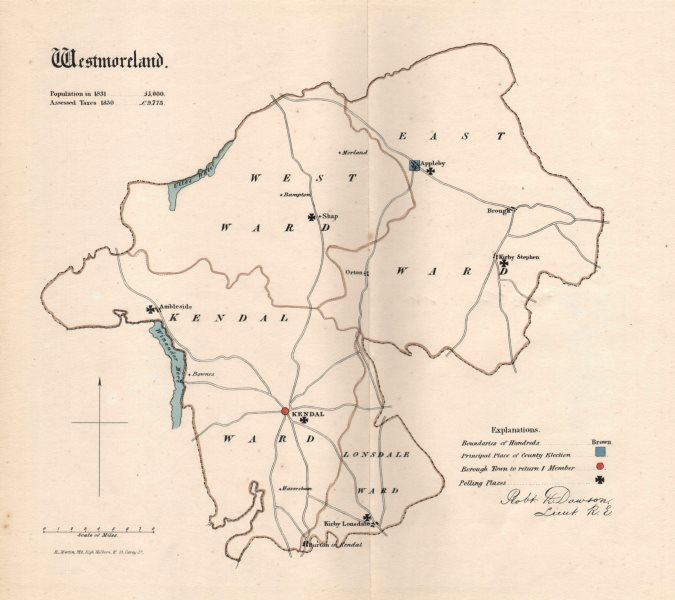 Associate Product Westmoreland county map. Divisions electoral boroughs. REFORM ACT. DAWSON 1832