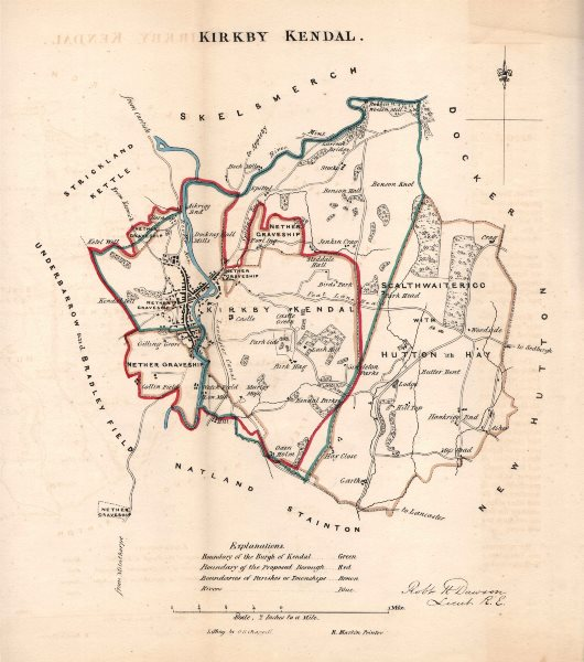 Associate Product KIRKBY KENDAL borough/town plan for the REFORM ACT. Cumbria. DAWSON 1832 map