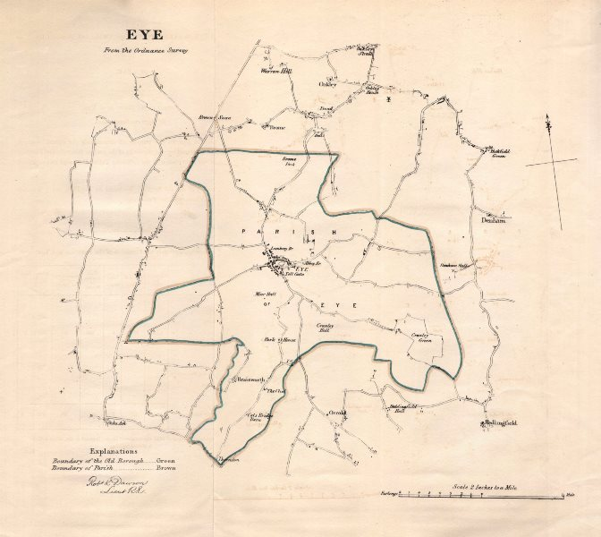 Associate Product EYE borough/town plan for the REFORM ACT. Yaxley Brome. Suffolk. DAWSON 1832 map