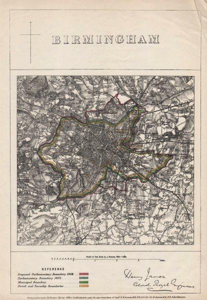 Associate Product BIRMINGHAM borough/town plan. BOUNDARY COMMISSION. West Midlands. JAMES 1868 map