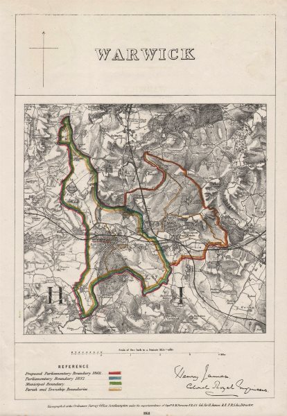 Associate Product WARWICK & LEAMINGTON PRIORS/SPA town plan. BOUNDARY COMMISSION. JAMES 1868 map
