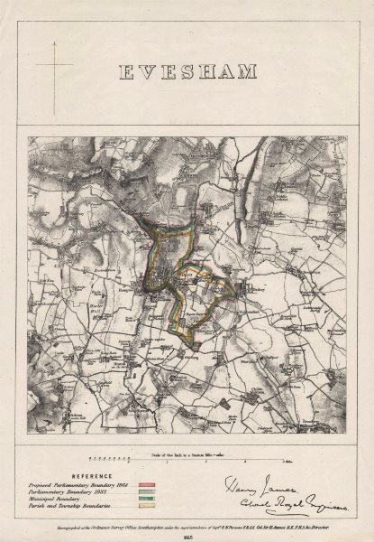 Associate Product EVESHAM borough/town plan. BOUNDARY COMMISSION. Worcestershire. JAMES 1868 map