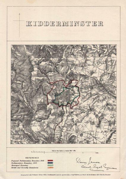KIDDERMINSTER borough/town plan. BOUNDARY COMMISSION. Worcs. JAMES 1868 map