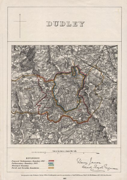 Associate Product DUDLEY borough/town plan. BOUNDARY COMMISSION. Worcestershire. JAMES 1868 map