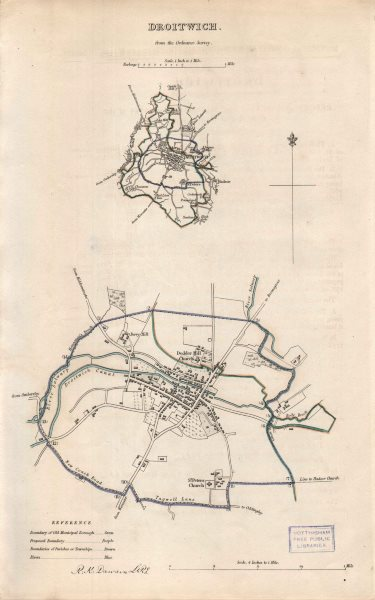 Associate Product DROITWICH borough/town plan. BOUNDARY REVIEW. Worcestershire. DAWSON 1837 map