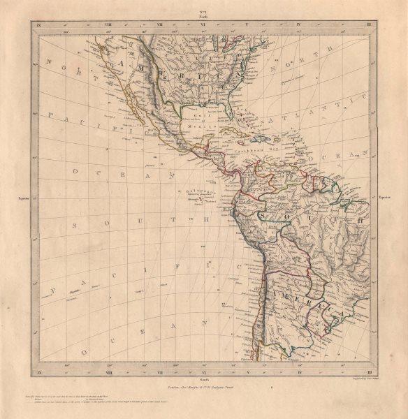 Associate Product AMERICAS. Gnomonic Projection. Texas Republic borders. Mexico USA. SDUK 1846 map