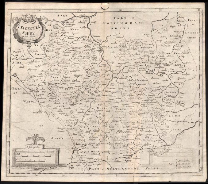 Associate Product LEICESTERSHIRE. by ROBERT MORDEN from Camden's Britannia 1722 old antique map