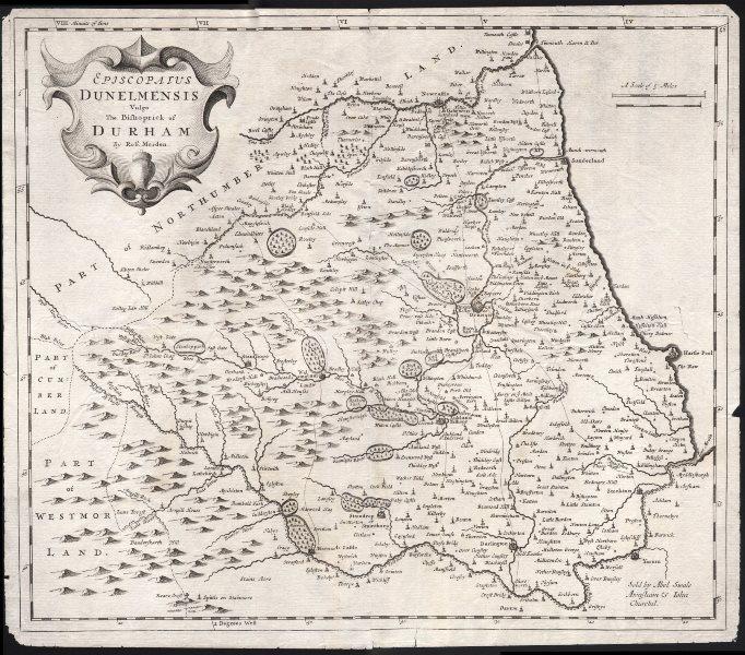 Associate Product Bishopric of Durham. 'EPISCOPAIUS DUNELMENSIS' by ROBERT MORDEN 1695 old map