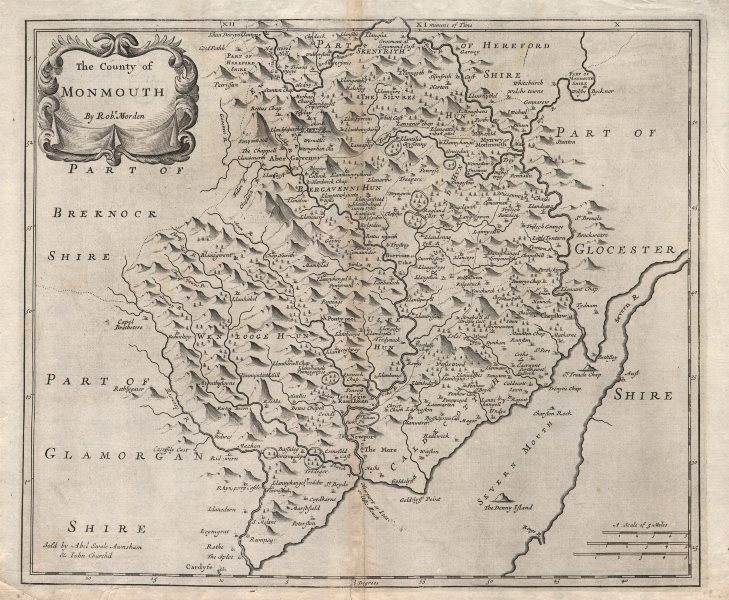 Associate Product Monmouthshire. 'COUNTY OF MONMOUTH' by ROBERT MORDEN.Camden's Britannia 1722 map
