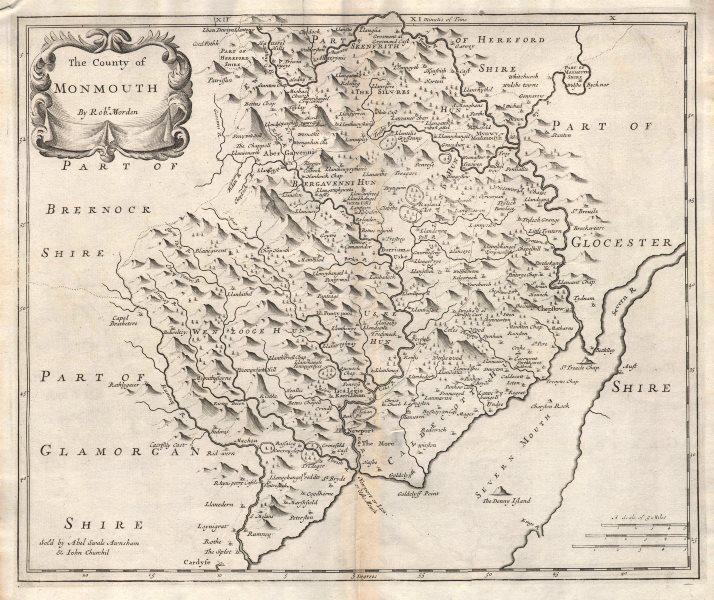 Associate Product Monmouthshire. 'COUNTY OF MONMOUTH'. ROBERT MORDEN. Camden's Britannia 1722 map