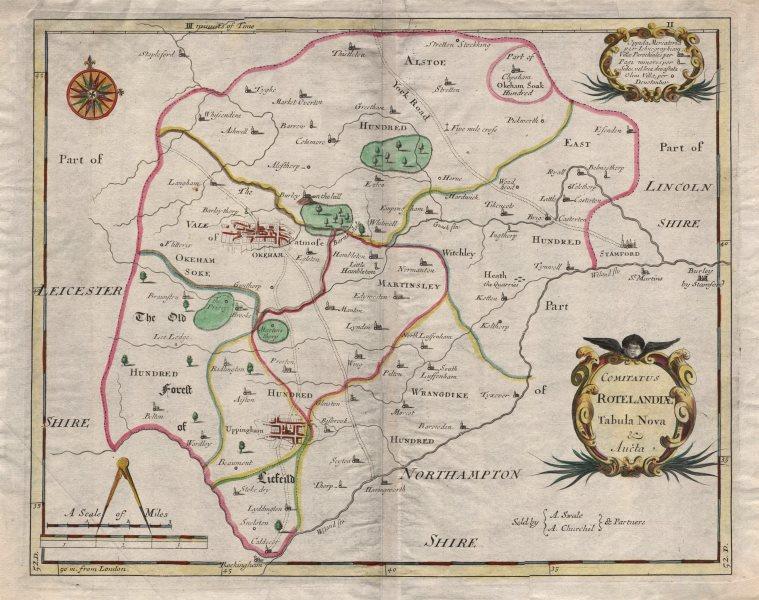 Associate Product Rutland. 'COMITATUS ROTELANDIAE'. MORDEN. Oakham & Uppingham. Coloured 1695 map