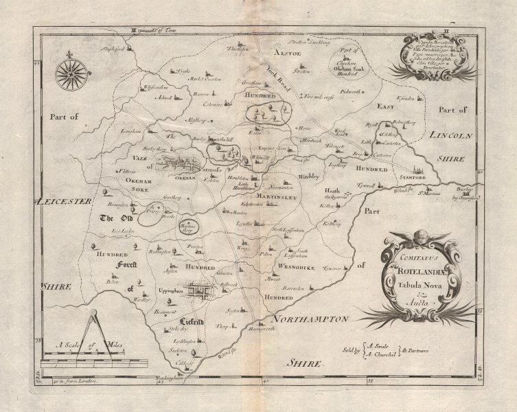 Associate Product Rutland. 'COMITATUS ROTELANDIAE' by ROBERT MORDEN. Uppingham & Oakham 1695 map