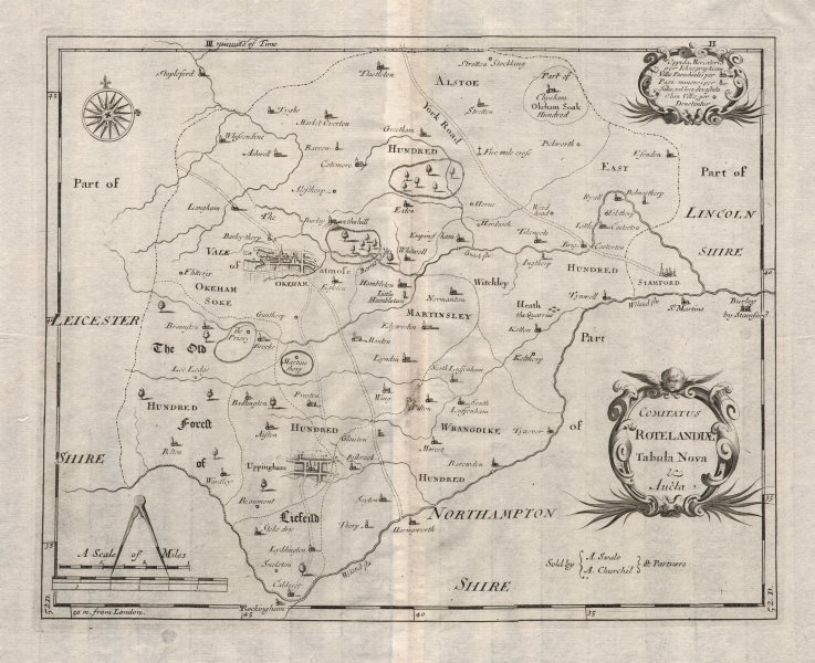 Associate Product Rutland. 'COMITATUS ROTELANDIAE' by ROBERT MORDEN. Oakham Uppingham 1695 map